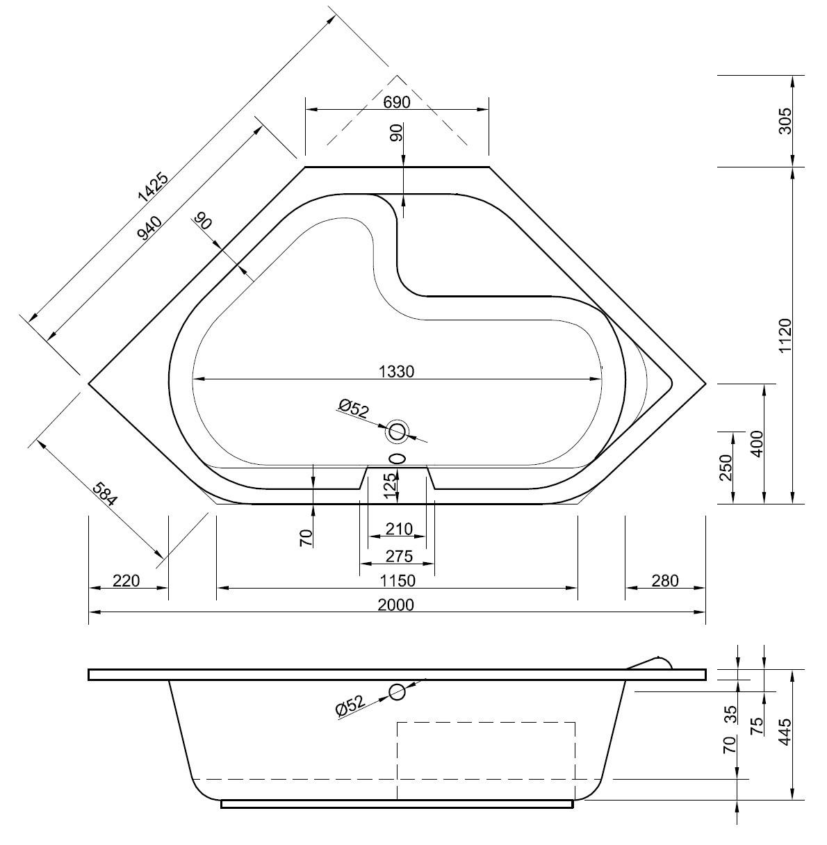 Badewanne maße standard  Badewanne Maße Din: Freistehende badewanne pure 181 cm x 81 cm ...